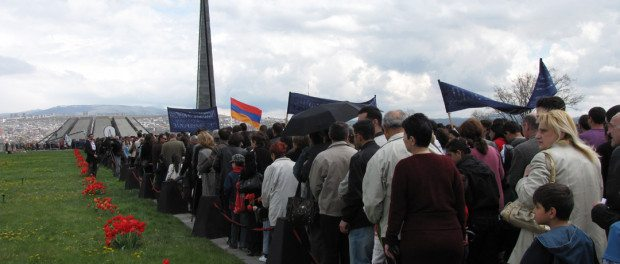 The crowd approaching the Genocide Memorial