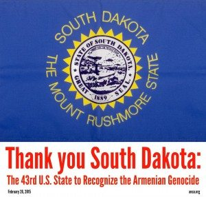 South Dakota is the 43rd state to recognize the Armenian Genocide.