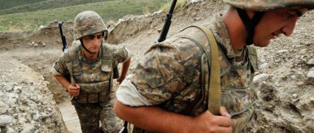 Armenian soldiers patrol near the border with Azerbaijan in 2012. (Photo: AFP/Karen Minasyan)