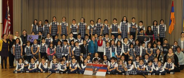 Olympic Gymnast Houry Gebeshian with SSAES Principal Houry Boyamian, teachers, and  students from grades 1-5