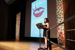 Director Talin Avakian gives opening remarks at the premiere screening of Demi Pointe, at Mass. College of Art and Design, May 2012.