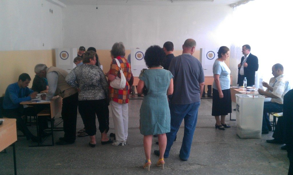 Voters go to the polls in the Nubarashen district of Yerevan for the city's municipal elections.