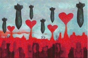 """""""City of love in a time of war,"""" a painting by Syrian artist Wissam Al Jazairy"""