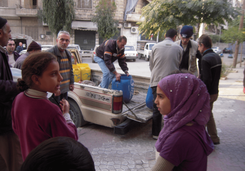 Water is distributed to whoever is in need of water and does not have access to a reservoir