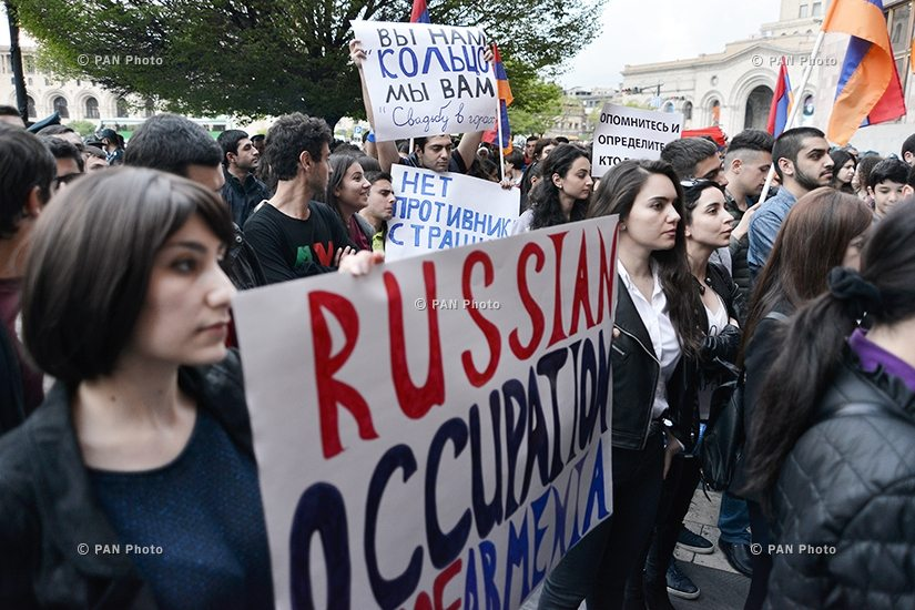 """Demonstrators chanted slogans such as """"sovereign Armenia"""" and """"free and independent Armenia"""" during the march from Yerevan's Liberty Square to the Russian Embassy in Armenia. (Photo: PanArmenian Photo)"""